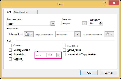 Memperlihatkan kotak dialog Font di PowerPoint