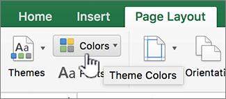 Tombol warna tema pada tab tata letak