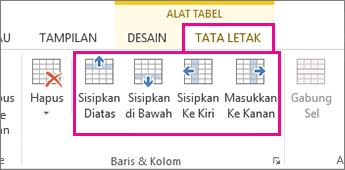 Gambar opsi tata letak untuk menambahkan baris dan kolom dalam tabel