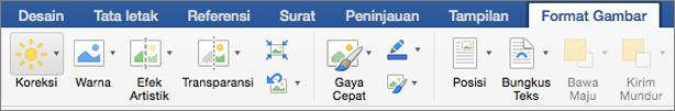Pada tab Format gambar, klik koreksi