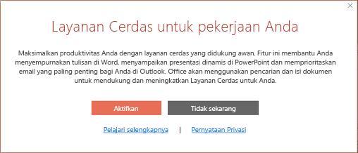 Kotak dialog untuk ikut serta dalam Layanan Cerdas Office