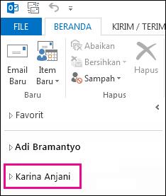Tampilan folder bersama dalam daftar folder di Outlook 2013