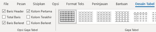 Grup gaya tabel desain Outlook untuk Windows
