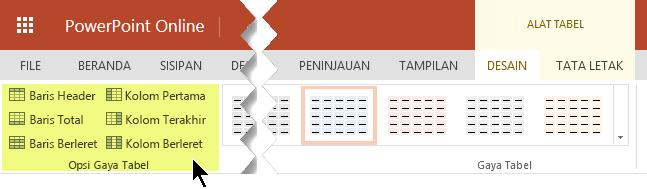Anda bisa menambahkan gaya bayangan ke baris atau kolom dalam tabel tertentu.