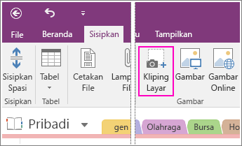 Cuplikan layar tombol Sisipkan Kliping Layar di OneNote 2016