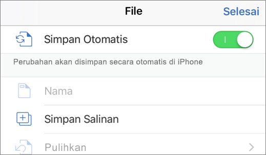 Ketuk File, lalu Duplikat untuk menyimpan dokumen dengan nama lain
