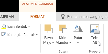 Cuplikan layar memperlihatkan tab Format Alat Gambar dengan kursor yang menunjuk ke opsi Teks Alt.