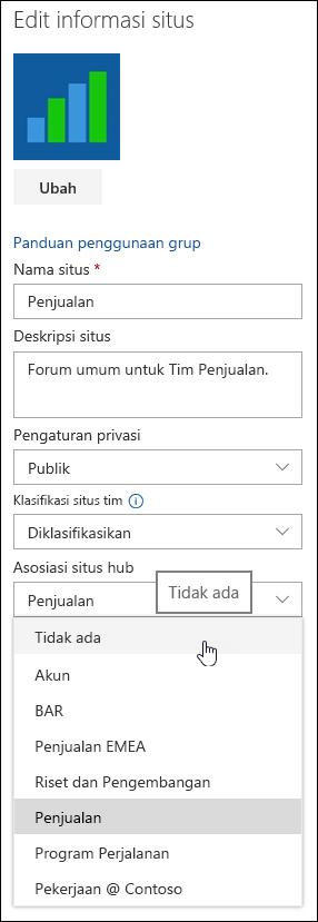 Memisahkan situs dari situs hub SharePoint