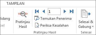 Cuplikan layar tab Surat di Word, memperlihatkan grup Pratinjau Hasil.