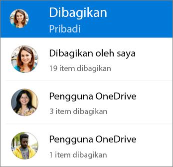 Tampilan File bersama dalam aplikasi OneDrive untuk Android