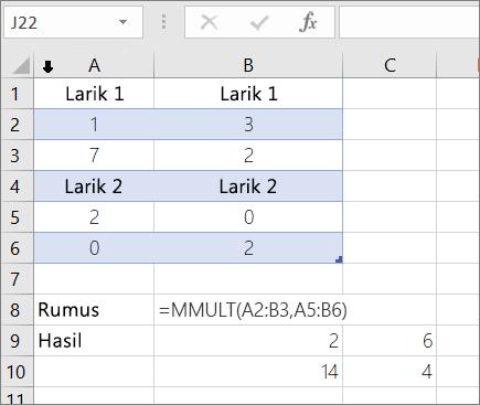 Fungsi MMULT-contoh 1