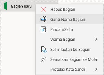 Cuplikan layar menu konteks untuk mengganti nama tab bagian di OneNote untuk Windows 10.