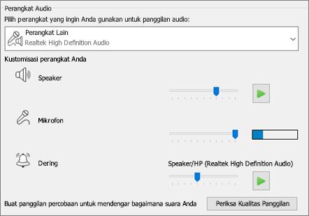Pengaturan yang dikustomisasi--speaker, mikrofon, dering--untuk perangkat audio