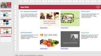 Peragaan slide yang memperlihatkan 4 gambar templat yang mudah diakses serta slide lainnya