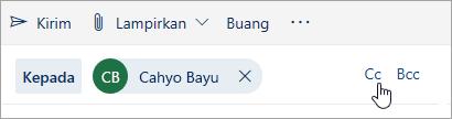 Cuplikan layar tombol Cc dan Bcc