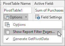 Perlihatkan opsi Halaman Filter Laporan