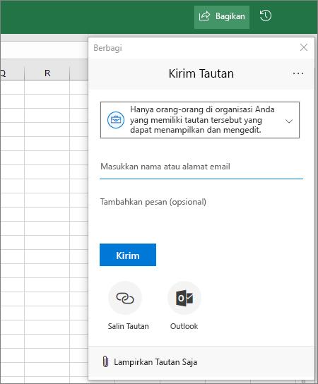 Ikon dan kotak dialog Berbagi di Excel