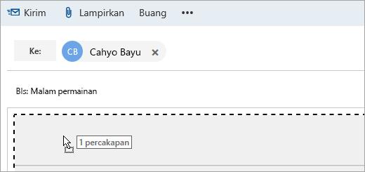 Cuplikan layar pesan yang sedang diseret ke panel Tulis