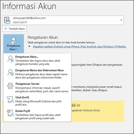 Anda memiliki beberapa tipe pengaturan akun Anda bisa mengubah di Outlook.