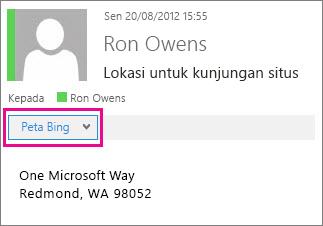 Pesan Outlook menampilkan aplikasi Bing Maps