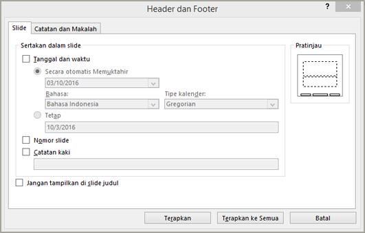 Kotak dialog header dan footer