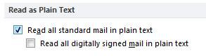 Kotak centang Baca semua email standar dalam teks biasa