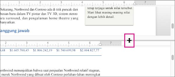 Anda dapat memisahkan jendela untuk menampilkan bagian-bagian berbeda dari dokumen yang sama, serta menampilkan tampilan yang berbeda.