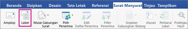 Klik Label untuk mempersiapkan halaman untuk mencetak lembar label.