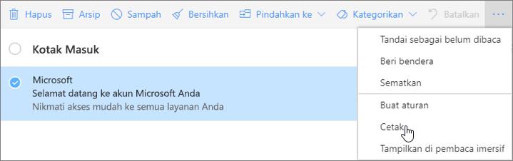 Cuplikan layar memperlihatkan opsi Cetak dipilih untuk pesan email.