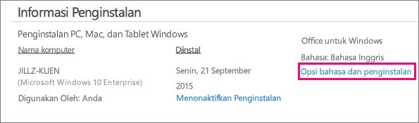 Menampilkan tautan Opsi bahasa dan instal di akun manajemen Office 365