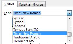 Di tab Simbol, identifikasi font.