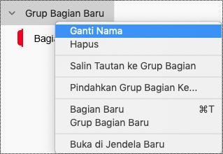 Mengganti nama grup bagian di OneNote untuk Mac