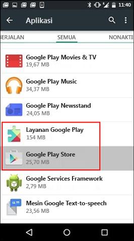 Menghapus Singgahan Aplikasi Google Play Store