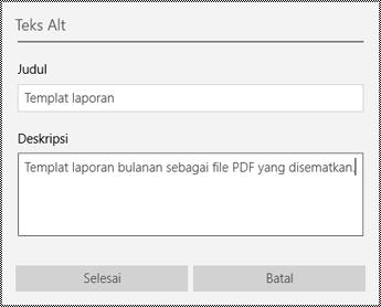 Menambahkan teks alt ke file yang disematkan di aplikasi OneNote untuk Windows 10