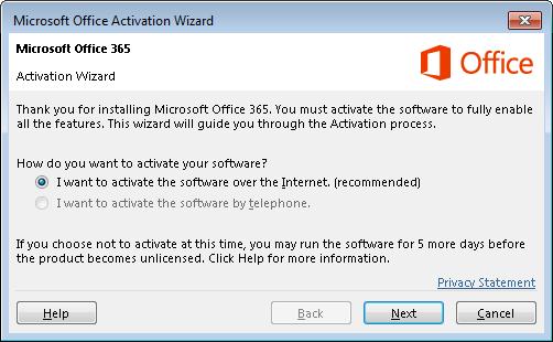 Memperlihatkan panduan aktivasi untuk Office 365