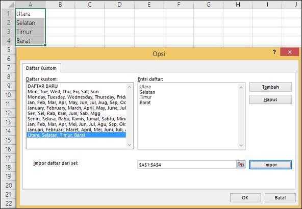 Dialog Daftar Kustom dari File > Opsi > Tingkat Lanjut > Umum > Edit Daftar Kustom. Untuk Excel 2007 klik Tombol Office > Opsi Excel > Populer > Edit Daftar Kustom.