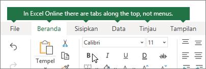 Beranda, sisipkan, data, tab tampilan di Excel untuk web