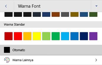 Menu warna font Word untuk Android