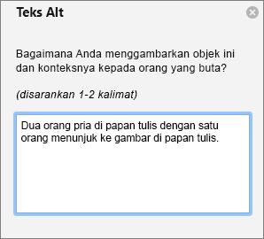 Panel Teks Alt untuk menambahkan teks alt ke gambar di Outlook