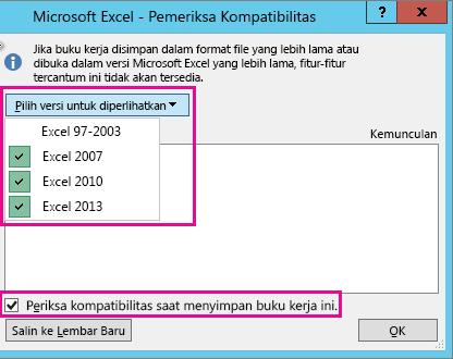 Pemeriksa Kompatibilitas, memperlihatkan versi untuk diperiksa
