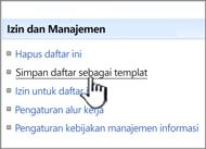 Klik Simpan Templat situs di bawah izin dan manajemen kolom