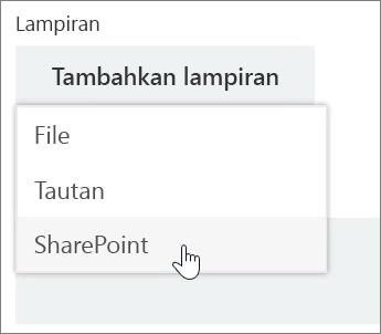 Cuplikan layar area Lampiran dalam jendela tugas dengan daftar Lampiran yang terbuka.