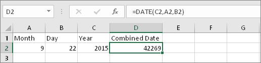 A2 berisi 9, B2 berisi 22, C2 berisi 2015, D2 berisi = DATE(C2,A2,B2), hasilnya adalah 42269