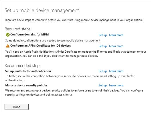 Menyiapkan manajemen perangkat seluler yang diperlukan dan langkah-langkah yang direkomendasikan