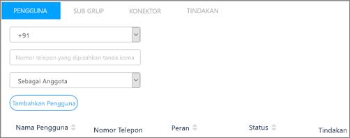 Cuplikan layar: Menambahkan pengguna ke grup Kaizala