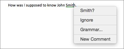 Kesalahan tata bahasa dengan menu kontekstual memperlihatkan opsi untuk memperbaikinya