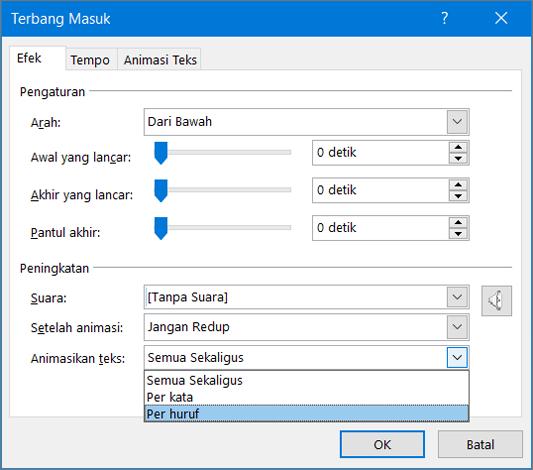 Pada tab efek, klik menurut huruf