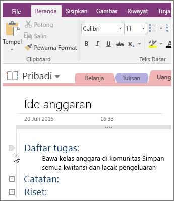 Cuplikan layar cara menciutkan kerangka di OneNote 2016.