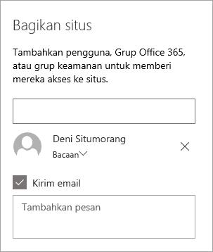 Menambahkan seseorang di panel berbagi situs