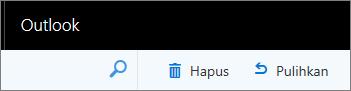 Cuplikan layar memperlihatkan opsi Hapus dan Pulihkan pada bilah alat Outlook di web.